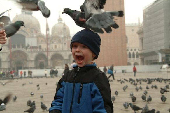 Feeding the Pigeons in St. Mark's Square, Venice