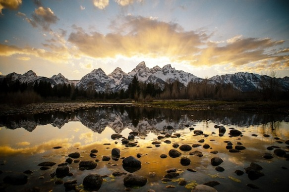 Sunset over Grand Teton's National Park in Jackson Hole, Wyoming
