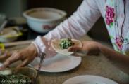 Filling the dumplings