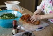 Chopping the kimchi