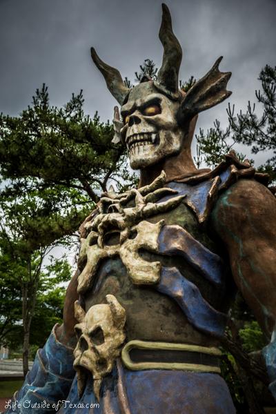 Creepy statues at Gyeongju Tower in Korea